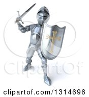 Clipart Of A 3d Armored Knight Fighting With A Sword Royalty Free Illustration by Julos