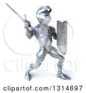 Clipart Of A 3d Armored Knight Fighting With A Sword 2 Royalty Free Illustration by Julos