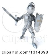 Clipart Of A 3d Armored Knight Fighting With A Sword 3 Royalty Free Illustration by Julos
