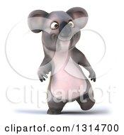 Clipart Of A 3d Koala Walking Royalty Free Illustration