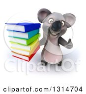Clipart Of A 3d Koala Holding Up A Thumb And A Stack Of Books Royalty Free Illustration