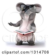 Clipart Of A 3d Koala Wearing Sunglasses Presenting And Holding An Open Book Royalty Free Illustration