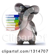 Clipart Of A 3d Koala Wearing Sunglasses And Holding A Stack Of Books Royalty Free Illustration