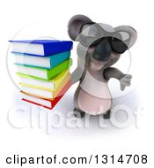 Clipart Of A 3d Koala Wearing Sunglasses Holding Up A Thumb Down And A Stack Of Books Royalty Free Illustration