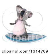 Clipart Of A 3d Koala Surfing 3 Royalty Free Illustration