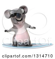 Clipart Of A 3d Koala Wearing Sunglasses And Surfing Royalty Free Illustration