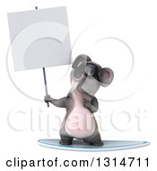 Clipart Of A 3d Koala Wearing Sunglasses Surfing Holding Up And Pointing To A Blank Sign Royalty Free Illustration