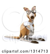Clipart Of A 3d Bespectacled Casual Kangaroo Wearing A White Tee Shirt Royalty Free Illustration