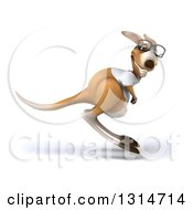 Clipart Of A 3d Bespectacled Casual Kangaroo Wearing A White Tee Shirt And Hopping Royalty Free Illustration