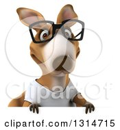 Clipart Of A 3d Bespectacled Casual Kangaroo Wearing A White Tee Shirt Over A Sign Royalty Free Illustration