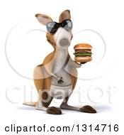 Clipart Of A 3d Kangaroo Wearing Sunglasses And Holding A Double Cheeseburger Royalty Free Illustration
