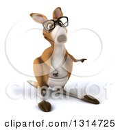 Clipart Of A 3d Bespectacled Kangaroo Pointing Royalty Free Illustration