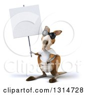 Clipart Of A 3d Casual Kangaroo Wearing A White Tee Shirt And Sunglasses Holding Up A Blank Sign Royalty Free Illustration