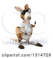 Clipart Of A 3d Casual Kangaroo Wearing A White Tee Shirt And Sunglasses Holding Up A Finger Royalty Free Illustration