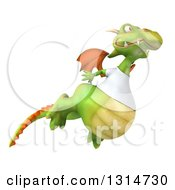 Clipart Of A 3d Casual Green Dragon Wearing A White T Shirt Flying To The Right Royalty Free Illustration