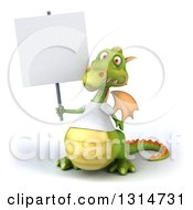 Clipart Of A 3d Casual Green Dragon Wearing A White T Shirt Holding Up A Blank Sign Royalty Free Illustration