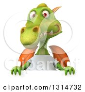 Clipart Of A 3d Casual Green Dragon Wearing A White T Shirt Over A Sign Royalty Free Illustration