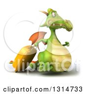 Clipart Of A 3d Traveling Green Dragon Walking To The Right With Rolling Luggage Royalty Free Illustration by Julos