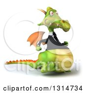 Clipart Of A 3d Green Business Dragon Walking To The Right Royalty Free Illustration