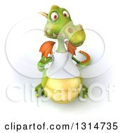 Clipart Of A 3d Casual Green Dragon Wearing A White T Shirt Holding Up A Thumb Royalty Free Illustration