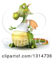 Clipart Of A 3d Casual Green Dragon Wearing A White T Shirt Presenting To The Left Royalty Free Illustration
