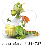 Clipart Of A 3d Casual Green Dragon Wearing A White T Shirt Facing Left And Giving A Thumb Up Royalty Free Illustration