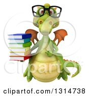 Clipart Of A 3d Bespectacled Green Dragon Holding A Stack Of Books Royalty Free Illustration