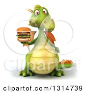 Clipart Of A 3d Green Dragon Facing Holding A Double Cheeseburger Royalty Free Illustration