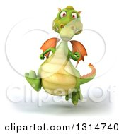 Clipart Of A 3d Green Dragon Running Royalty Free Illustration