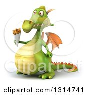 Clipart Of A 3d Green Dragon Facing Left And Holding French Fries Royalty Free Illustration