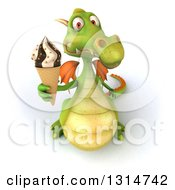 Clipart Of A 3d Green Dragon Holding Up A Waffle Ice Cream Cone Royalty Free Illustration