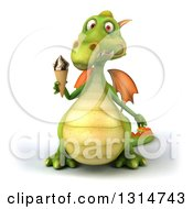 Clipart Of A 3d Green Dragon Holding A Waffle Ice Cream Cone Royalty Free Illustration
