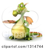 Clipart Of A 3d Green Dragon Presenting A Pizza Royalty Free Illustration