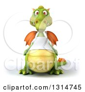 Clipart Of A 3d Casual Green Dragon Wearing A White T Shirt Royalty Free Illustration