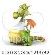 Clipart Of A 3d Casual Green Dragon Wearing A White T Shirt Facing Left Royalty Free Illustration