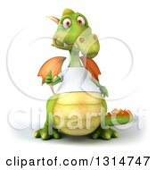 Clipart Of A 3d Casual Green Dragon Wearing A White T Shirt Giving A Thumb Up Royalty Free Illustration