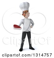 Clipart Of A 3d Young Black Male Chef Holding A Beef Steak Royalty Free Illustration