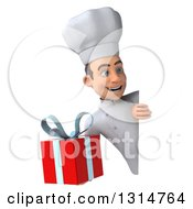 Clipart Of A 3d Young White Male Chef Holding A Gift Around A Sign Royalty Free Illustration