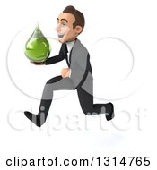 Clipart Of A 3d Happy Young White Businessman Sprinting To The Left And Holding A Green Tincture Medicine Drop Royalty Free Illustration by Julos