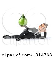 Clipart Of A 3d Happy Young White Businessman Resting On His Side And Holding A Green Tincture Medicine Droplet Royalty Free Illustration by Julos