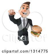 Clipart Of A 3d Happy Young White Businessman Flying With A Double Cheeseburger Royalty Free Illustration