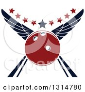 Clipart Of A Red Winged Bowling Ball In An Alley With Stars Royalty Free Vector Illustration by Vector Tradition SM