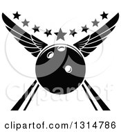 Clipart Of A Black And White Winged Bowling Ball In An Alley With Stars Royalty Free Vector Illustration by Seamartini Graphics