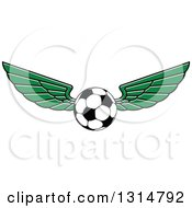 Clipart Of A Green Winged Soccer Ball Royalty Free Vector Illustration by Seamartini Graphics
