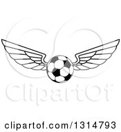 Clipart Of A Black And White Winged Soccer Ball Royalty Free Vector Illustration