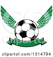 Clipart Of A Green Winged Soccer Ball With A Blank Banner Royalty Free Vector Illustration