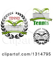 Clipart Of Tennis Ball Racket Net And Wreath Designs With Text Royalty Free Vector Illustration