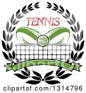 Clipart Of A Tennis Ball Over Abstract Rackets A Net Blank Green Banner And Text In A Black Wreath Royalty Free Vector Illustration