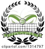 Clipart Of A Tennis Ball Over Abstract Rackets A Net And Blank Green Banner In A Black Wreath Royalty Free Vector Illustration