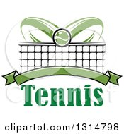 Clipart Of A Tennis Ball Over Abstract Rackets A Net Blank Green Banner And Text Royalty Free Vector Illustration